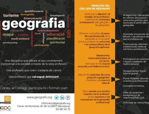 Serveis i objectius del Col·legi de Geògrafs