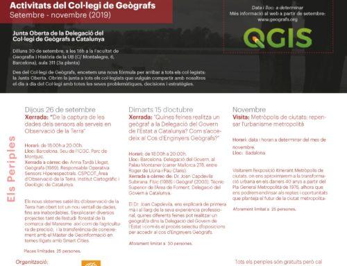 Programació d'activitats del Col·legi de Geògrafs