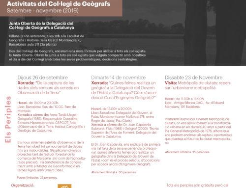 Programa de les activitats del Col·legi de Geògrafs