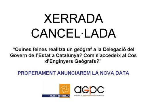 Cancel·lada la xerrada de demà 15 d'octubre