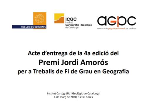 Acte d'entrega de la 4a edició del Premi Jordi Amorós per a Treballs de Fi de Grau de Geografia.